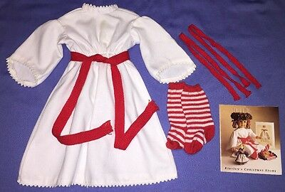 American Girl Pleasant Co Kirsten Saint St Lucia Gown with Socks, Ribbons!