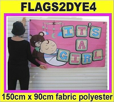ITS A GIRL flag Baby teddy bear pink includes AUSTRALIA POST TRACKING