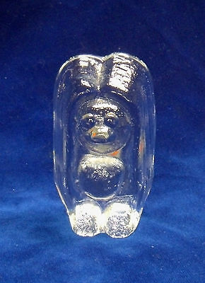 "Blenko ""Troll"" Glass Paperweight, 4"" Tall Figurine, Crystal (Clear) + Label Exc"