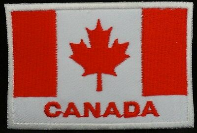 "CANADA FLAG EMBLEM PATCH SEW ON EASY TO USE 2""x3"""