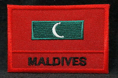 "MALDIVES FLAG EMBLEM PATCH SEW ON EASY TO USE 2""x3"""