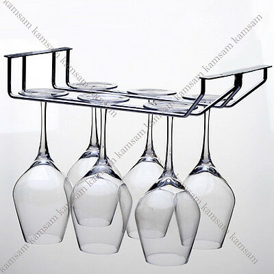 1/2/3 row wine glass stemware hanging rack holder w/ screw bar dining home decor