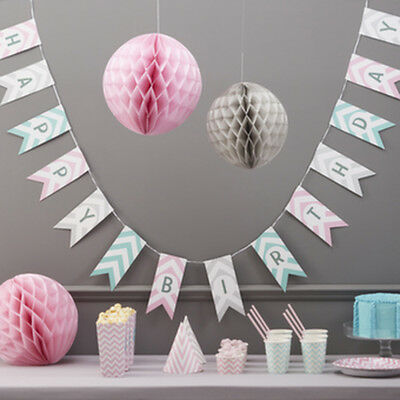Chevron Happy Birthday Paper Bunting - Venue Decoration / Pastels