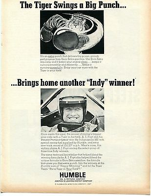1967 Humble Oil Co A. J. Foyt Brings Home Another Indy 500 Win Tiger Print Ad