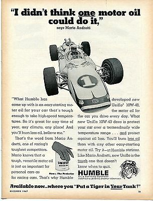 1967 Humble Uniflo Racing Motor Oil Mario Andretti Put a Tiger in Your Tank Ad