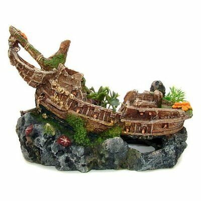 Classic Man o' War  Ornament Ship Wreck With Plants For  Saltwater &Freshwater