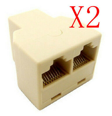 DZ517 RJ45 6 Ethernet Cable LAN Port 1 to 2 Socket Splitter Connector Adapter RS