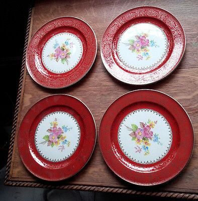 FOUR  SALAD SIZE KNOWLES CHINA PLATES 22K  GOLD TRIM