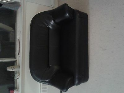 2 black( leather low to the floor) love seat and single chair