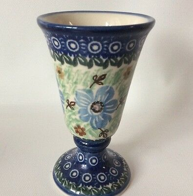 Unikat Boleslawiec Polish Pottery Small Wine Goblet Cup Glass Floral 4 Oz Footed