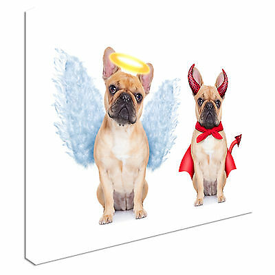 Devil and Angel french bulldogs Canvas Art Cheap Wall Print Home Interior