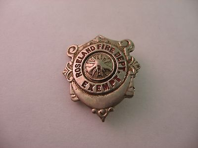 Rare Nice Quality Vintage Roseland Fire Department Exempt Badge Design Pin