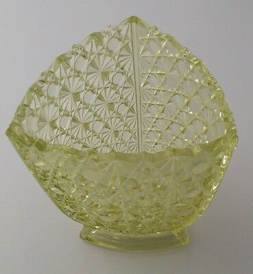 Vaseline Glass Spooner or Celery Vase Daisy & Button Vintage Yellow Green Glows