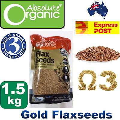 NEW Absolute Organic Gold FlaxSeed 1.5kg High in Omega 3 Contains Calcium &Iron