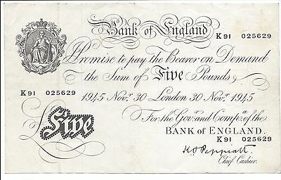 """Great Britain 30-11-1945 5 Pounds """"White Fiver""""  Pick 342  Nice VF-EF"""