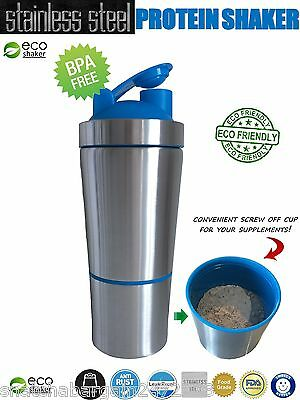Stainless Steel Gym Fitness Protein ECO Shaker BPA Weight Training Bodybuilding