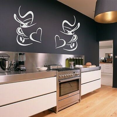 (Size XL) 2 Coffee Cups Kitchen Wall Stickers Vinyl Art Decals Cafe Diner Hearts