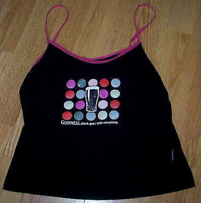 """Scarce GUINNESS """"BLACK GOES WITH EVERYTHING"""" VEST TOP Size Small Dublin Made c16"""