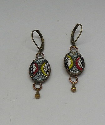 Vintage Drop Dangle Victorian Style Micro Mosaic Earrings