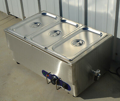 "Food Warmer 6"" Deep 1/3 Size Pans 1.5KW Restaurant Stainless Steel"