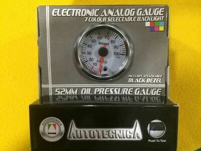 "52mm Oil pressure gauge 0-100 Psi electric Autotecnica 2"" white face"