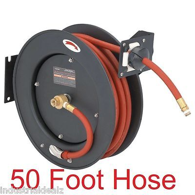 "Auto Rewind Retractable 3/8"" x 50' Air Compressor Hose Reel 250 PSI Secure Lock"