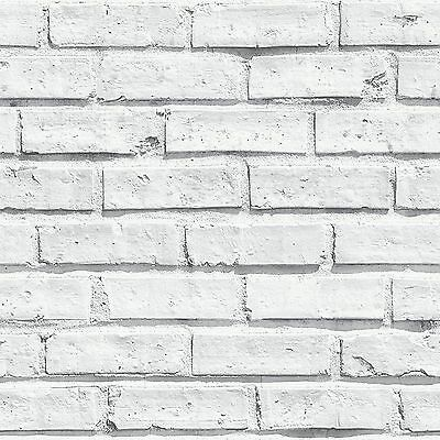 New Arthouse White Brick Wall Textured Pattern Luxury Mural Wallpaper -  623004