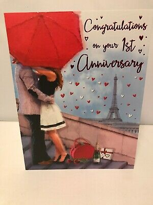 First Wedding Anniversary.Happy 1st Anniversary Card First Wedding Anniversary Cards Congratulations