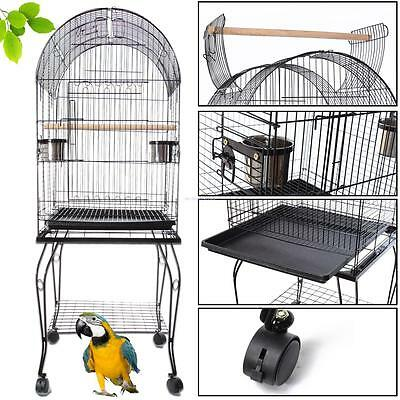 Removable Pet Bird Parrot Canary Cage Aviary With Stand Wheel Perch Large 150Cm
