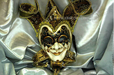 Mens Full Face Venetian Fabric Masquerade Theater Jester Mask [Black/Gold]