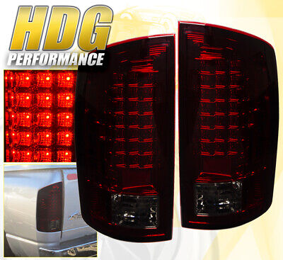02-06 Ram 1500 Full Replacement Led Brake Tail Lights Lamps Left+Right Smoke Red