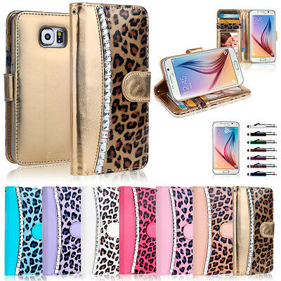 Diamond Leopard WALLET FLIP CASE COVER For Samsung Galaxy S6 S7 Edge & Note 5
