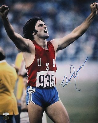 Bruce Jenner Autographed 16x20 Arms Up Cheering Photo- JSA Authenticated