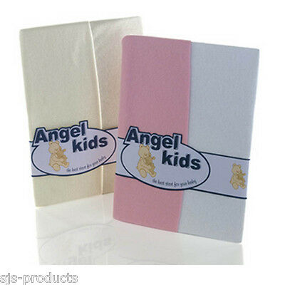 2 x Fitted Sheets for Baby Moses Baskets 100% Cotton Blue/Pink/White/Cream NEW