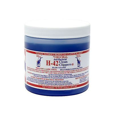 H-42 Clean Clippers Blade Cleaner Lubricates Cutting Blade Cleansing Jar 16oz