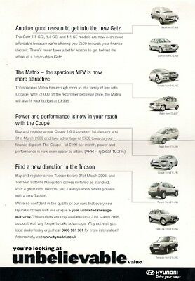 Hyundai Special Offers Jan-Mar 2006 UK Brochure Getz Matrix Coupe Tucson