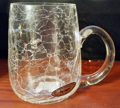 Pier One Imports hand blown clear crackle glass mug with applied glass handle