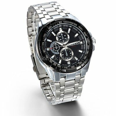 Stainless Steel Band Classic Quartz Round Analog Men's Casual Wrist Watch