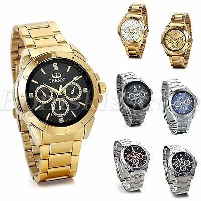 Stainless Steel Band Classic Quartz Round Analog Men's Casual Wrist Watch New