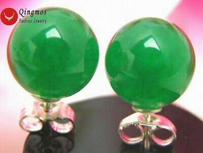 10mm Green Perfect Round High Quality Natural Jade Stud Earring for Women ear129