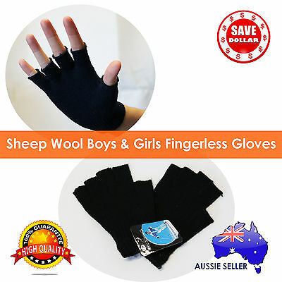 [SALE] Kids Sheep WOOL Winter Fingerless Gloves Boys Warm Unisex Ski GirlsGloves
