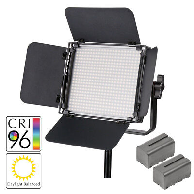LECO500 Film Interview Video Lighting LED Panel Dimmable+ 2xNP-F750