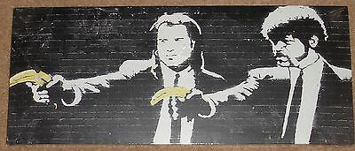 """Banksy Pulp Fiction  24"""" x 10"""" Canvas print on a wooden stretcher frame"""