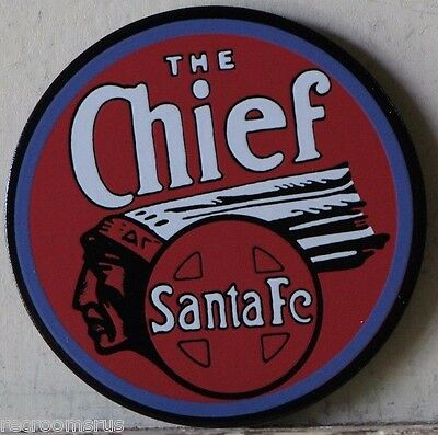 CHIEF Santa Fe railroad metal Magnet with porcelain finish electric toy trains