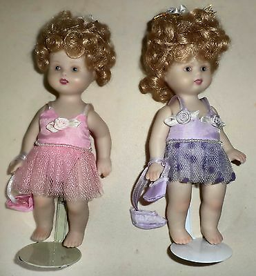 """Collectible Dolls 2 7"""" Ceramic Dolls in Ballerina Outfits W/ Metal Stands"""