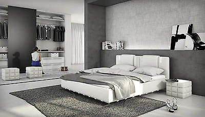 lederbett led bett polsterbett designerbett 180x200 cm doppelbett wei leder. Black Bedroom Furniture Sets. Home Design Ideas