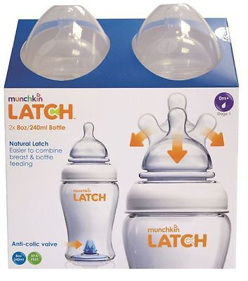 NEW! Munchkin Latch 240ml 0m+ Baby Feeding Bottles Set - Twin 2 Pack