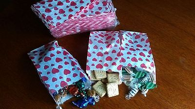 Hearts 22x6x11cm, White Paper Candy Bags, Gift, Cake, Party, Hearts 3 colours