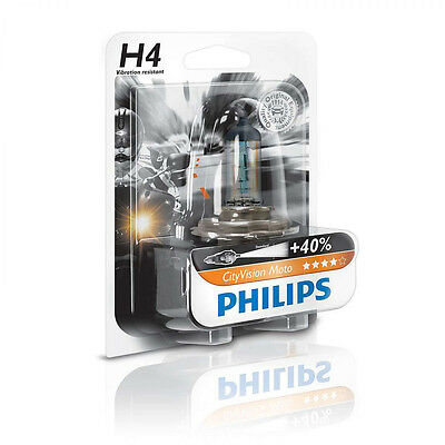 Philips CityVision Moto Motorcycle Headlight Light Bulb H4 9003 40% Brighter!