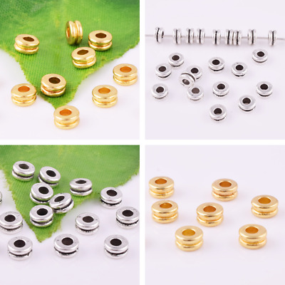 Wholesale Gold Silver Charm Spacer Beads Round Ring Loose Jewelry Findings 5x2mm